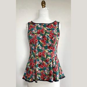 Tops - Floral Printed Peplum Blouse with Zip Back NWOT